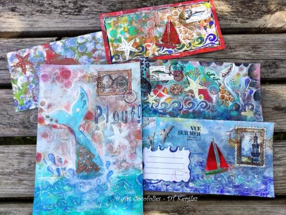 Art postal : cing Mail Art, par l'artiste de mixed media Cocofolies