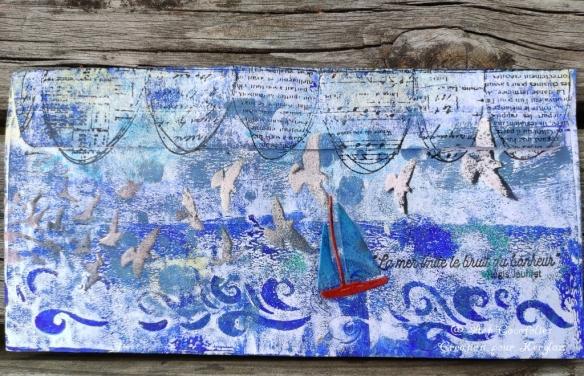 Mail art marin, par Cocofolies. L'arrière de l'enveloppe décorée