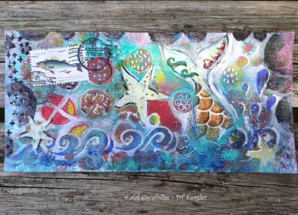 Art postal par Cocofolies : Mail art sirène et étoiles de mer, à l'acrylique
